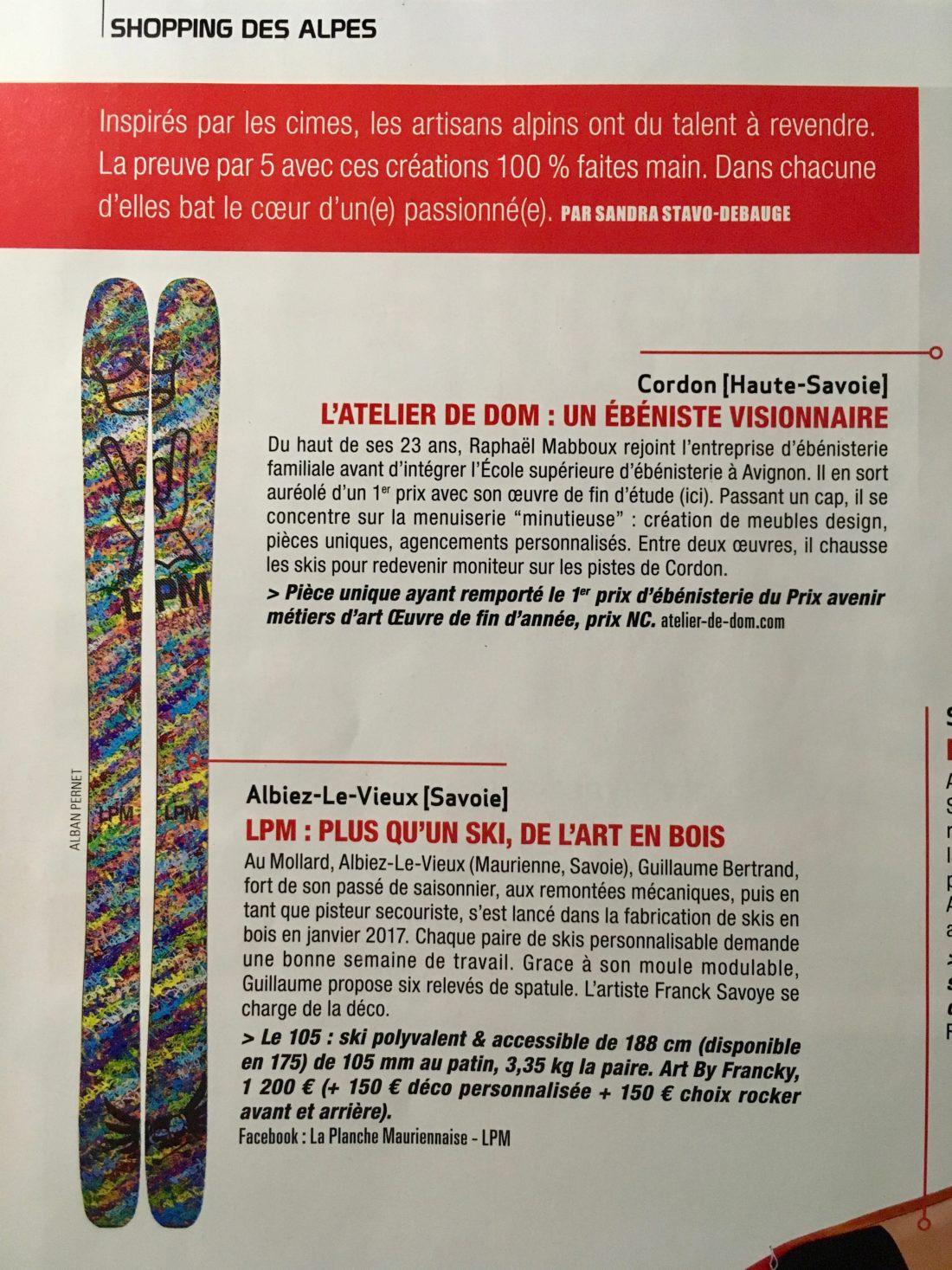 La Planche Mauriennaise LPM skis article Alpes Loisirs magazine modèle 105 design